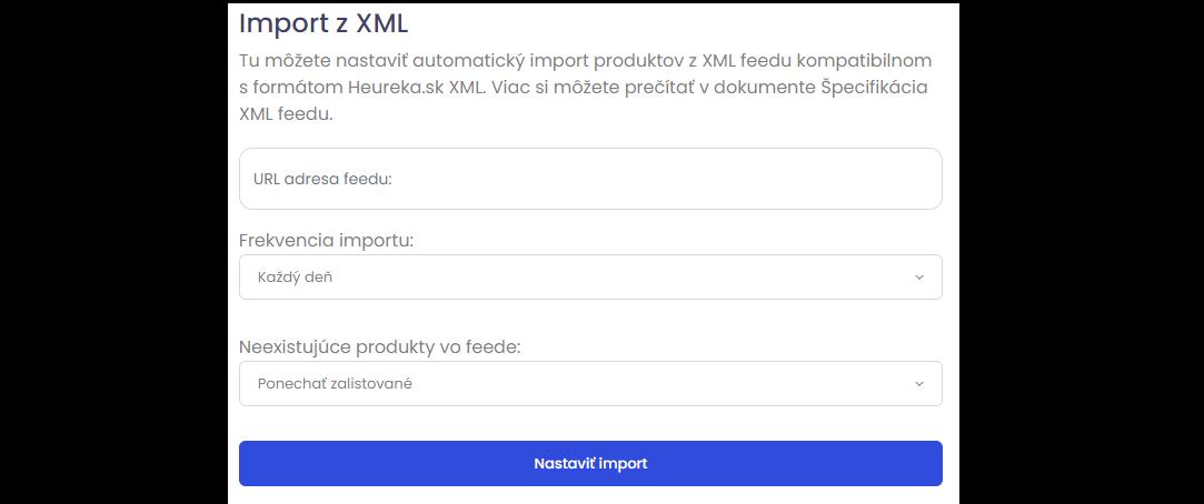 Nastavenie XML feedu